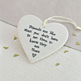 'Friends Are Like Stars' Hanging Ceramic Heart