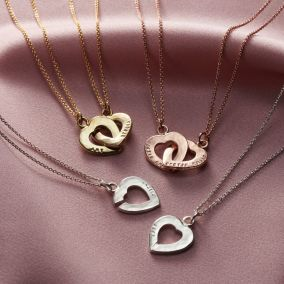 Personalised Heart Friendship Necklace Set