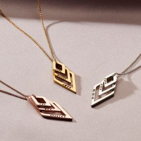 Personalised Family Names Geometric Necklace
