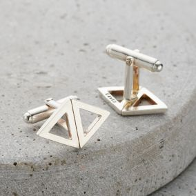Personalised Triangle Geometric Cufflinks