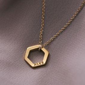 Personalised Mini Open Hexagon Necklace