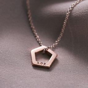 Personalised Mini Open Pentagon Necklace