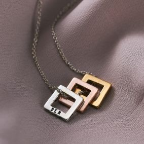 Personalised Mini Open Square Necklace