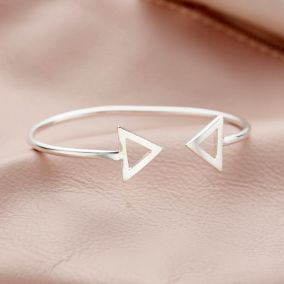 Personalised Fine Triangle Open Bangle