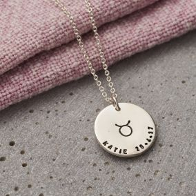 Personalised Large Zodiac Disc Necklace