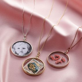 Sterling Silver Round Glass Locket Necklace