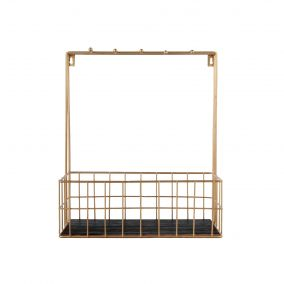 Gold Wire Kitchen Rack with Hooks