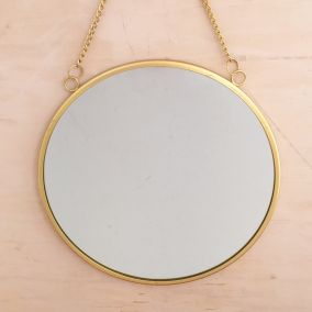 Round Gold Mirror with Chain