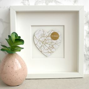 Personalised Gold Foil Map Heart Picture