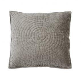 Grey Circle Pattern Velvet Cushion