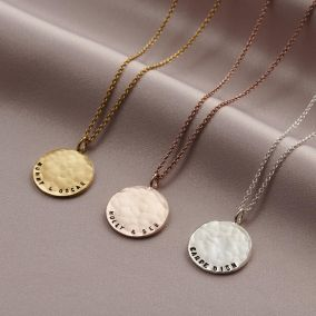 Personalised Curved Message Hammered Disc Necklace