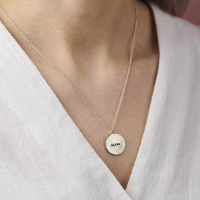 Personalised Hammered Disc Name Necklace