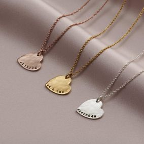 Personalised Hammered Heart Name Necklace