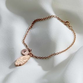 Personalised Hamsa Hand Initial Charm Bracelet