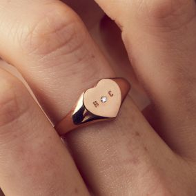 Personalised Handstamped Heart Signet Ring with Diamond
