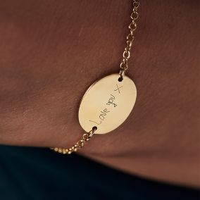 Personalised Handwritten Oval Disc Bracelet