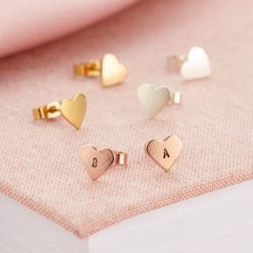 Personalised Mini Heart Stud Earrings