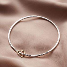 Personalised 9ct Gold Heart Bangle