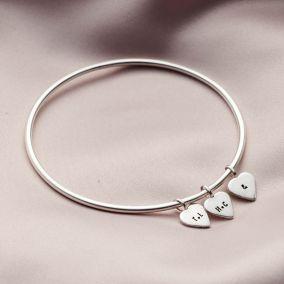 Personalised Heart Tag Bangle Silver