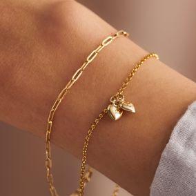 9ct Gold Double Heart Charm bracelet