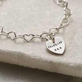 Personalised Interlinking Heart Bracelet