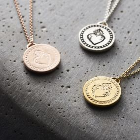 Flaming Heart Talisman Coin Necklace