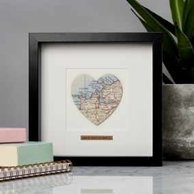 Personalised Single Heart Map Picture