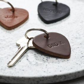 Personalised Leather Plectrum Keyring