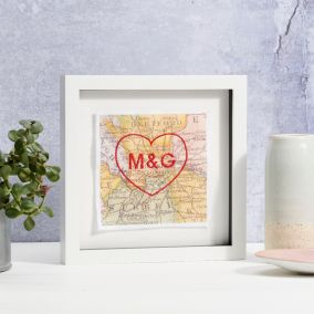 Personalised Stitched Heart Initials Map Picture