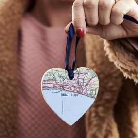 Personalised Wooden Heart Map Decoration