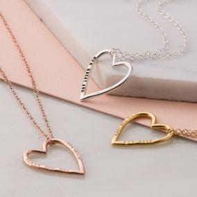 Personalised Medium Heart Necklace