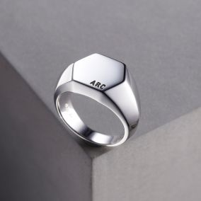 Unisex Personalised Hexagon Signet Ring