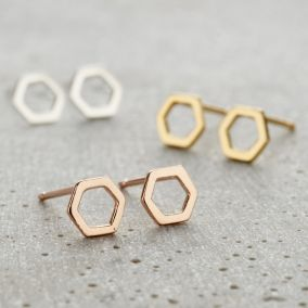 Fine Hexagon Stud Earrings