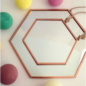 Set of Hexagonal Copper Mirrors with Rope