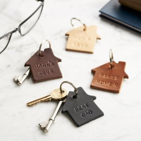 Personalised Leather New Home Keyring