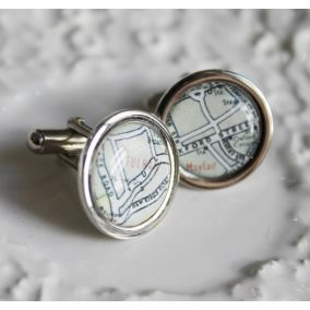Personalised London Vintage Map Cufflinks