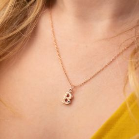 Textured Birthstone Initial Necklace