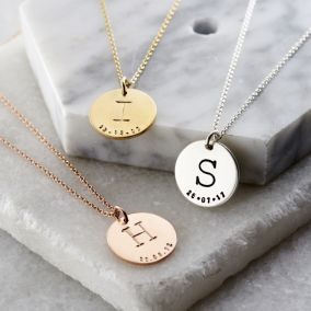 Personalised Initial Birth Disc Necklace