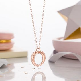 Personalised Rose Gold Interlinking Names Necklace
