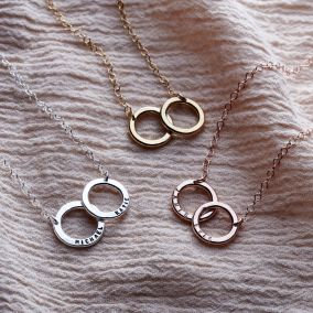 Personalised Solid Double Hoop Names Necklace