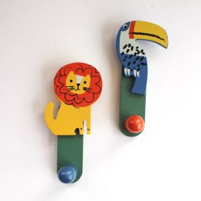 Wooden Jungle Animals Clothes Hooks