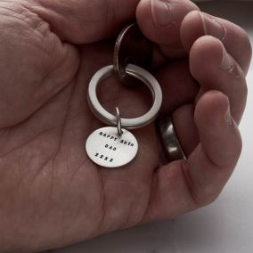 Personalised Brushed Silver Disc Keyring