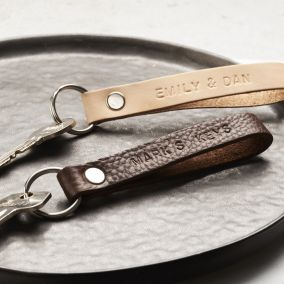 Personalised Handstamped Leather Keyring Loop