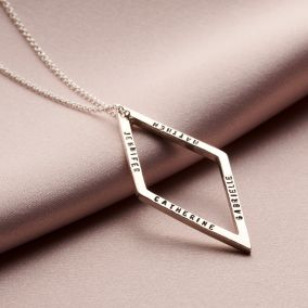 Personalised Geometric Drop Necklace