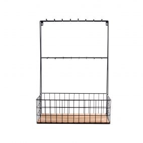 Large Black Wire Kitchen Rack with Hooks