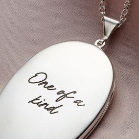 Personalised Large Oval Script Locket