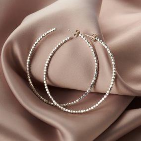 Large Silver Bead Hoop Earrings