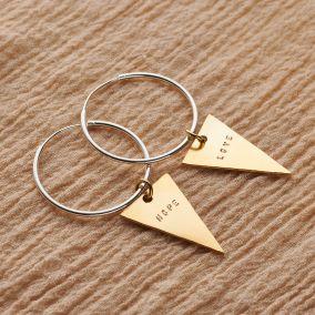 Personalised Triangle Charm Hoop Earrings