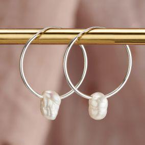Organic Pearl Hoop Earrings