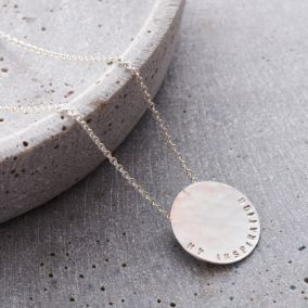 Personalised Large Hammered Disc Necklace